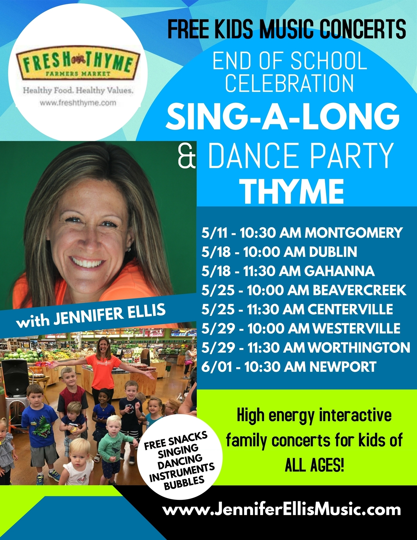 Jennifer Ellis End of School Celebration Sing-a-long and Dance Party